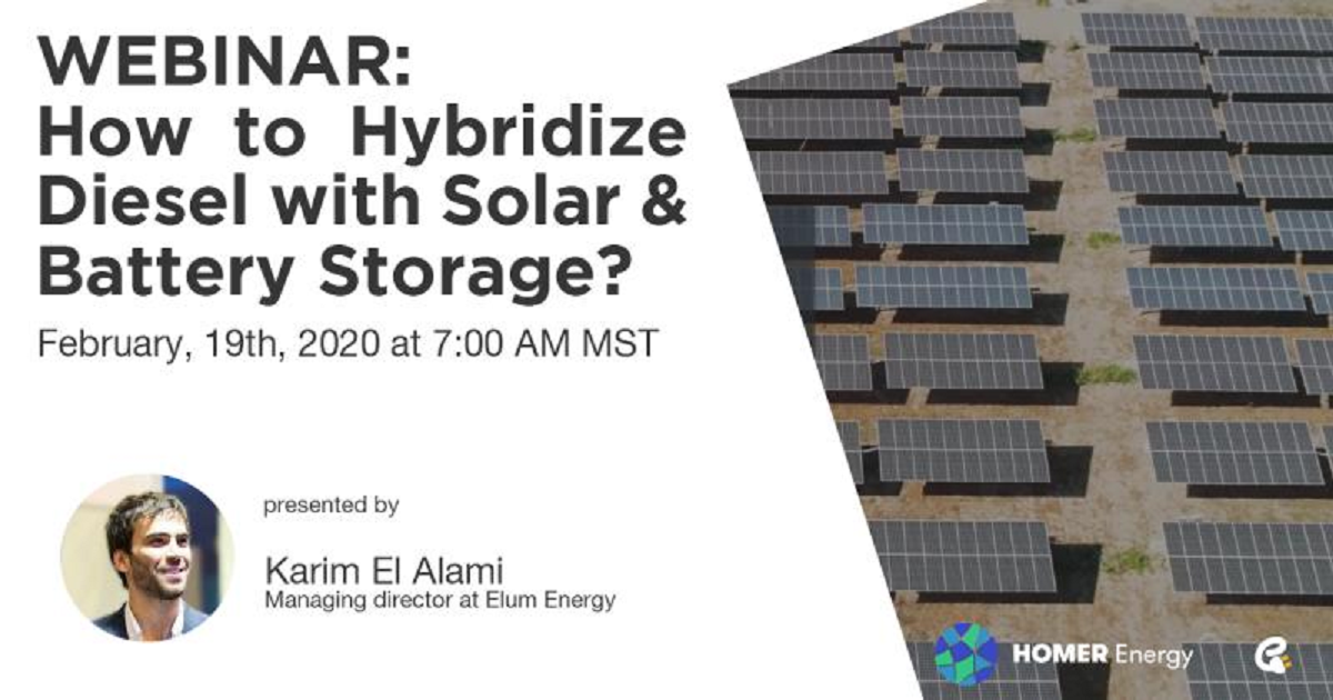 How to Hybridize Diesel with Solar & Battery Storage: Opportunities in Poor-Grid and Off-Grid Markets to Save Fuel